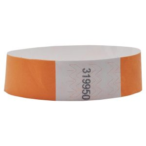 Tyvek Wristbands 19mm with Numbers (1000pcs) - Orange