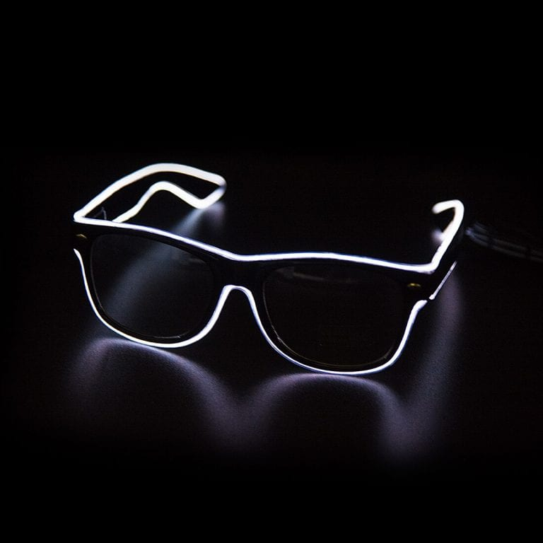 EL Wire Glasses with battery pack - Neon White