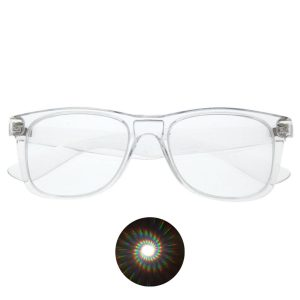 Diffraction Glasses - Spiral Pattern (Various Colours) - Clear Color