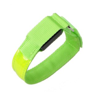 LED Armbands - Green, Replaceable Batteries, 2pcs